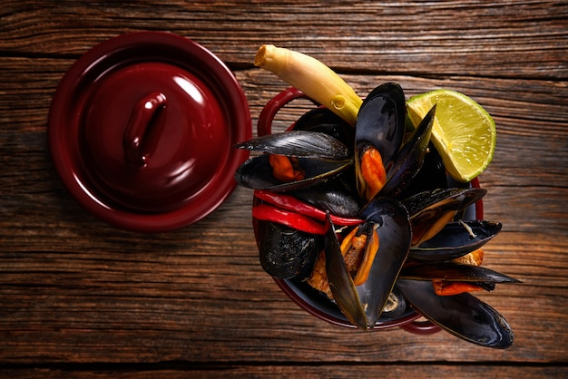 Steamed mussels tapas from spain with chili