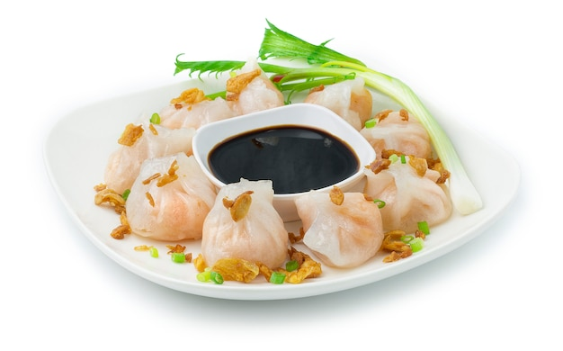 Steamed shrimps juicy dumbling chinese, (ha gow)