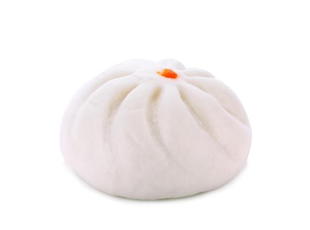 Steamed stuff bun on white background