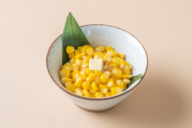 Steamed sweet buttered corn in bowl