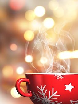 Steaming christmas mug on a bokeh lights background