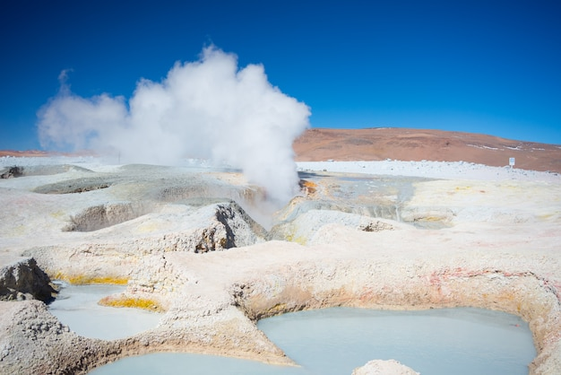 Steaming hot wer ponds on the andes, bolivia