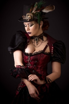 Steampunk young woman emotional portrait