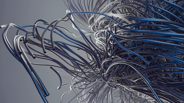Steel or aluminum pipes abstraction. 3d steel tubes design. hair tubes gray and blue color. neutral background