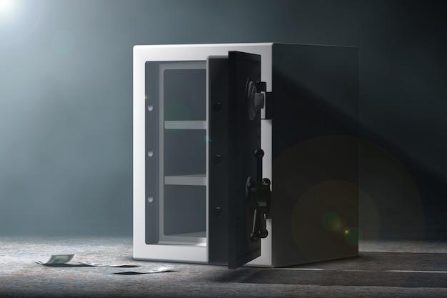 Стальной банковский сейф в объемном свете на черном фоне. 3d рендеринг