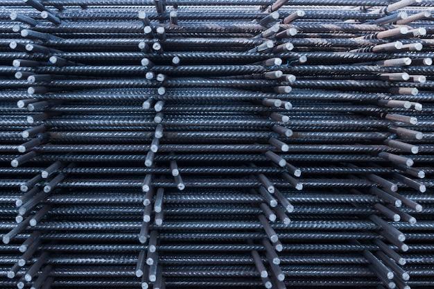 工場の鉄筋鉄筋。鉄筋コンクリート工事現場の鉄筋。工業用建物の鉄筋