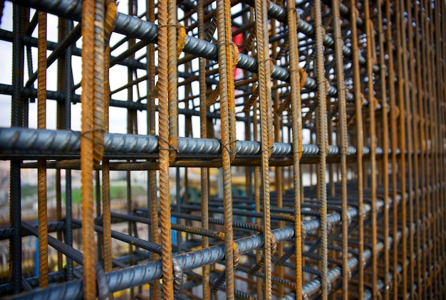 Steel bars of a building under construction