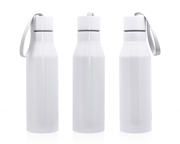 Steel bottle isolated on white background. insulated drink container for design.