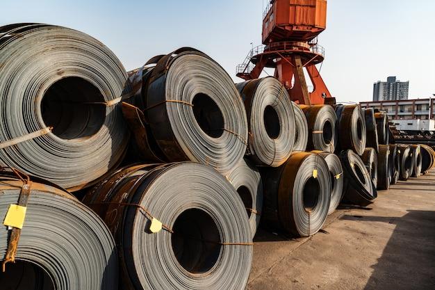 Steel coils inside a factory