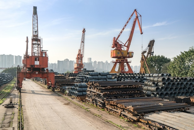 Steel and crane at the cargo terminal