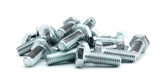 Steel galvanized bolts with hex heads isolated on white background