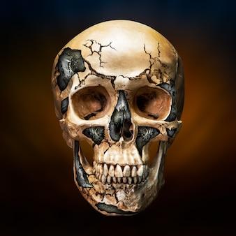 미래 기술에서 로봇의 개념에 깨진 인간 두개골 내부의 강철
