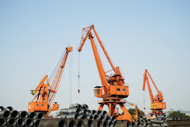 Steel and jack in wharf chongqing, china