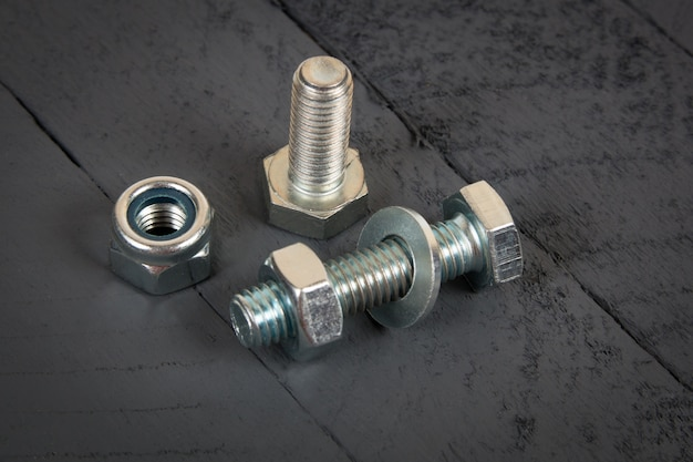 Steel metal bolt, washer and nut