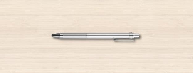 흰색 나무 배경 배너에 고립 된 철강 금속 펜