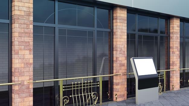 Steel mockup on city street vertical blank billboard for demonstration of design render.