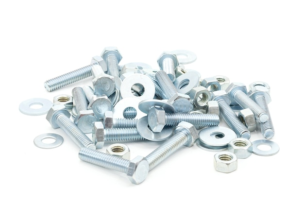 Steel nut industry on a white background
