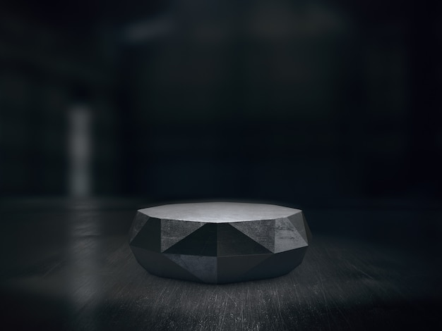 Steel pedestal design for product show with light spots on dark background