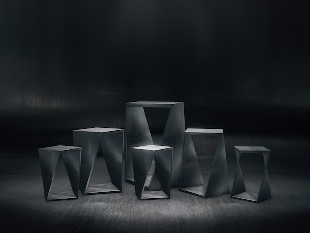 Steel pedestals design for product show with light spots on dark background
