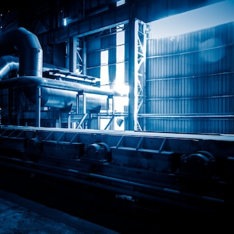 Steel pipelines and cables in a plant