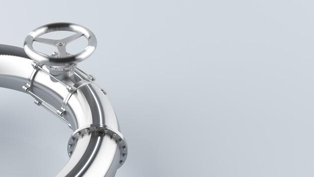 Стальные трубы с клапаном для газа и нефти на пустом фоне концепция блестящих стальных труб 3d Premium Фотографии