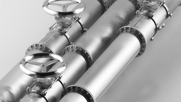 ガスとオイル用のバルブ付き鋼管。鋼管の概念、3dレンダリング。