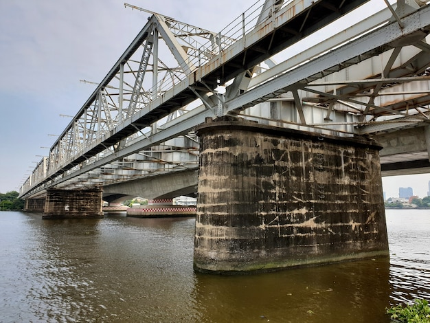 Steel railway bridge crosses the river
