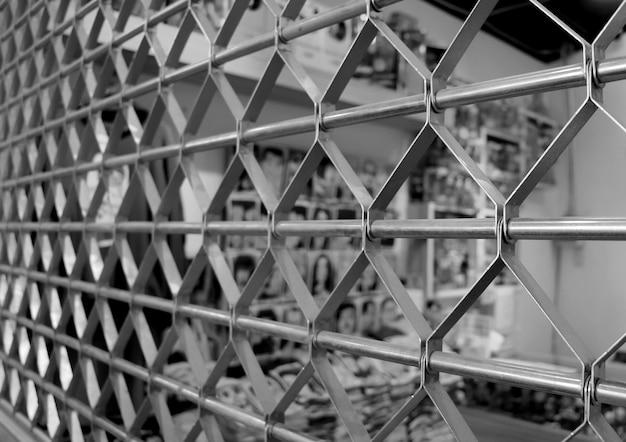 Steel roller shutter door of the store in monotone