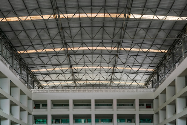 Steel roof structure under the roof of the industrial building