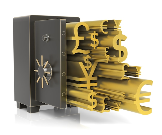 Steel safe with gold currency sign isolated on white high resolution 3d rendering