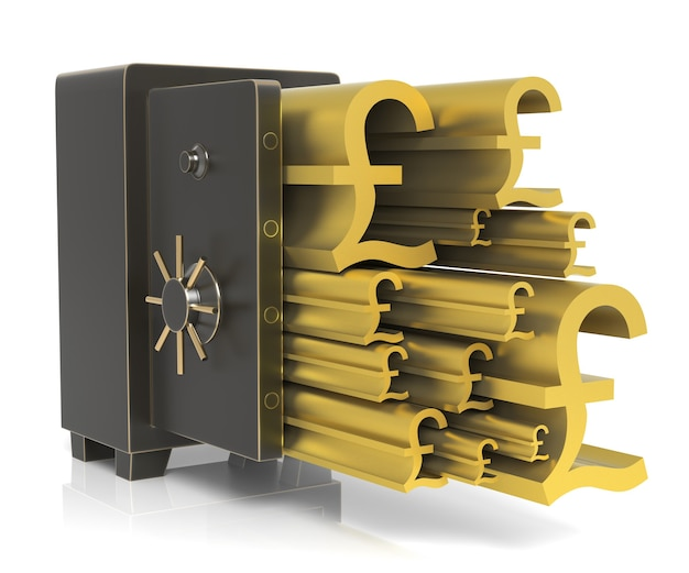 Steel safe with gold pound symbol isolated on white high resolution 3d rendering