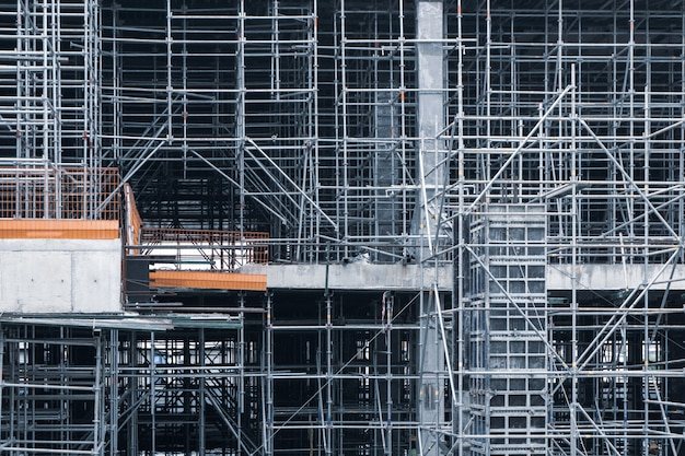 Steel structure in the construction site is under construction