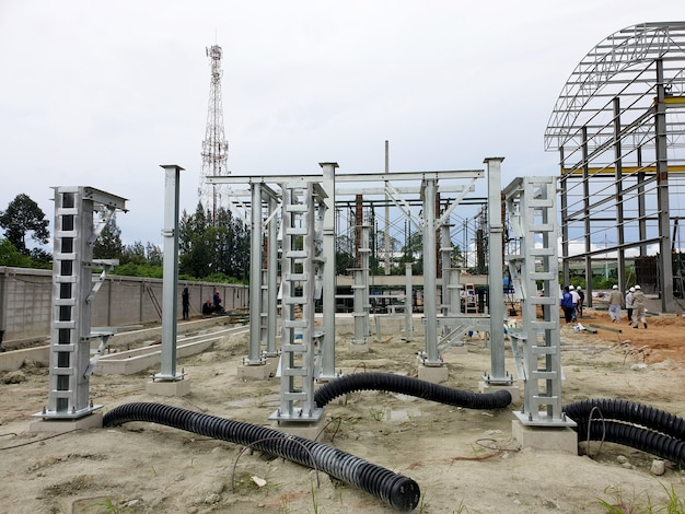 Steel structure and hdpe flexible underground cable for 115kv electrical equipment in the switchyard