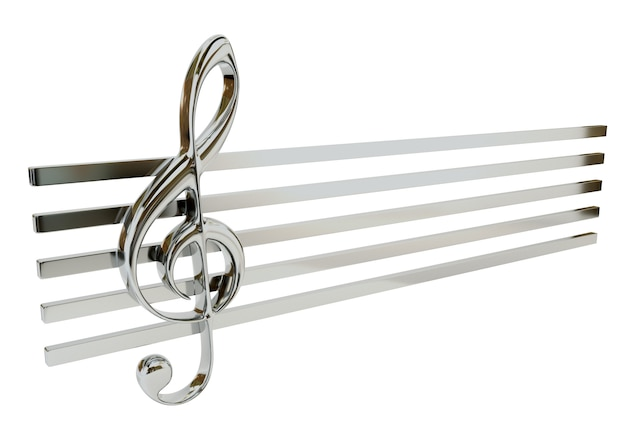 Steel treble clef and the stave, isolated on a white background. musical symbol.