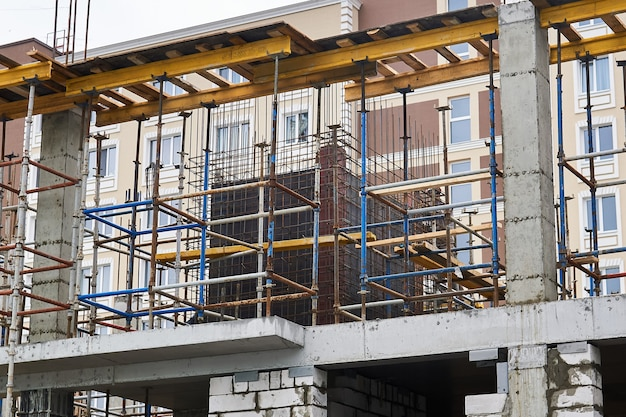 Steel tube prefabricated formwork system at the construction site