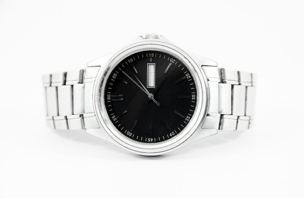 Steel watch with black face on isolated