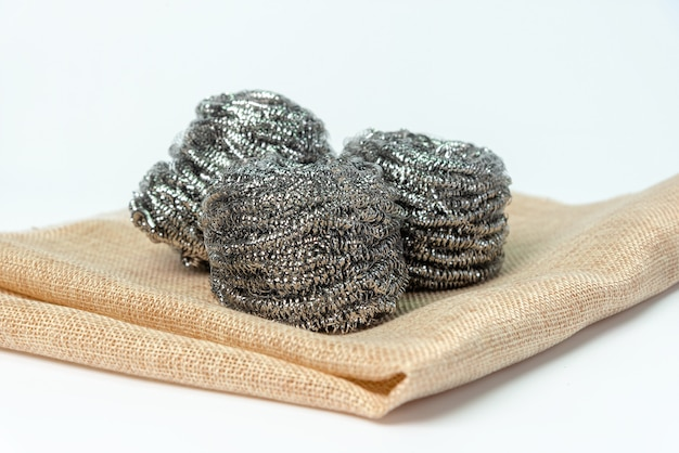 Steel wool, iron wool, wire wool, steel wire or wire sponge isolated