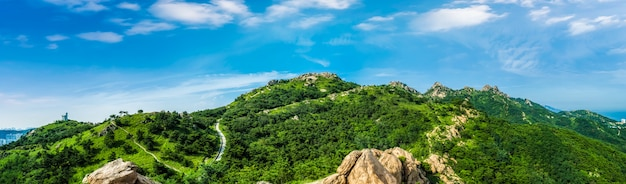 The steep top of fushan mountain in qingdao