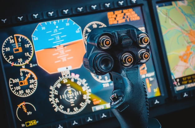 Steering wheel, aircraft, pilot's control cabin, dashboards.