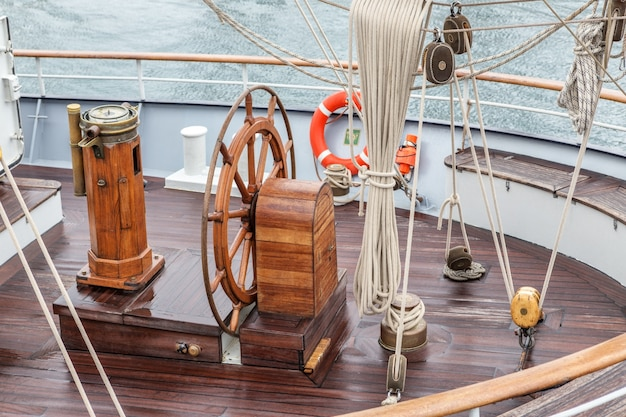 Steering wheel for captain on an old sailboat. sines portugal