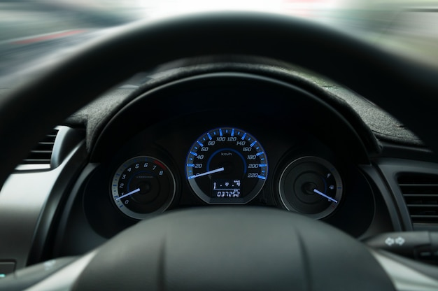 Steering wheel and dashboard,fasten seat belt sign warning on car dashboard information for safety driver