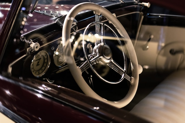 Steering wheel and part of interior of the retro