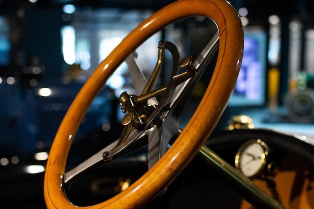 Steering wheel of the retro car