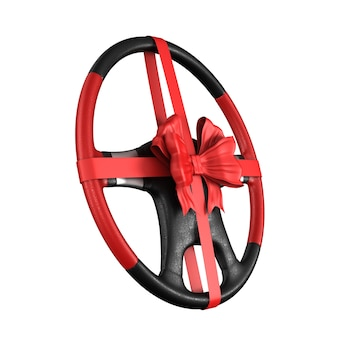 Steering wheel with bow on white space. isolated 3d illustration