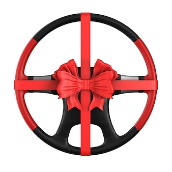Steering wheel with bow on white space