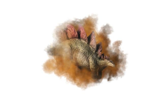 煙の背景にステゴサウルス恐竜