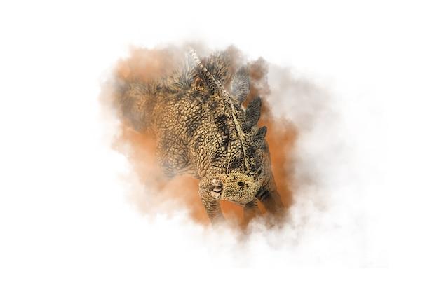ステゴサウルス、煙の背景に恐竜