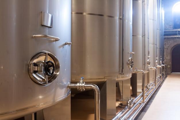 Stell barrels in winery