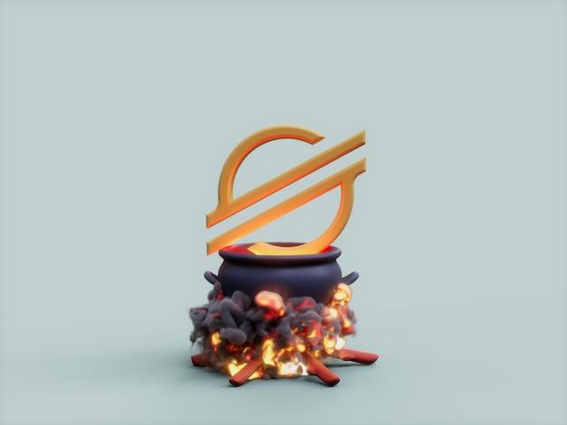 스텔라 가마솥 화재 요리사 암호화 통화 3d 그림 렌더링