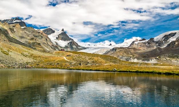 Stellisee lake near zermatt in switzerland